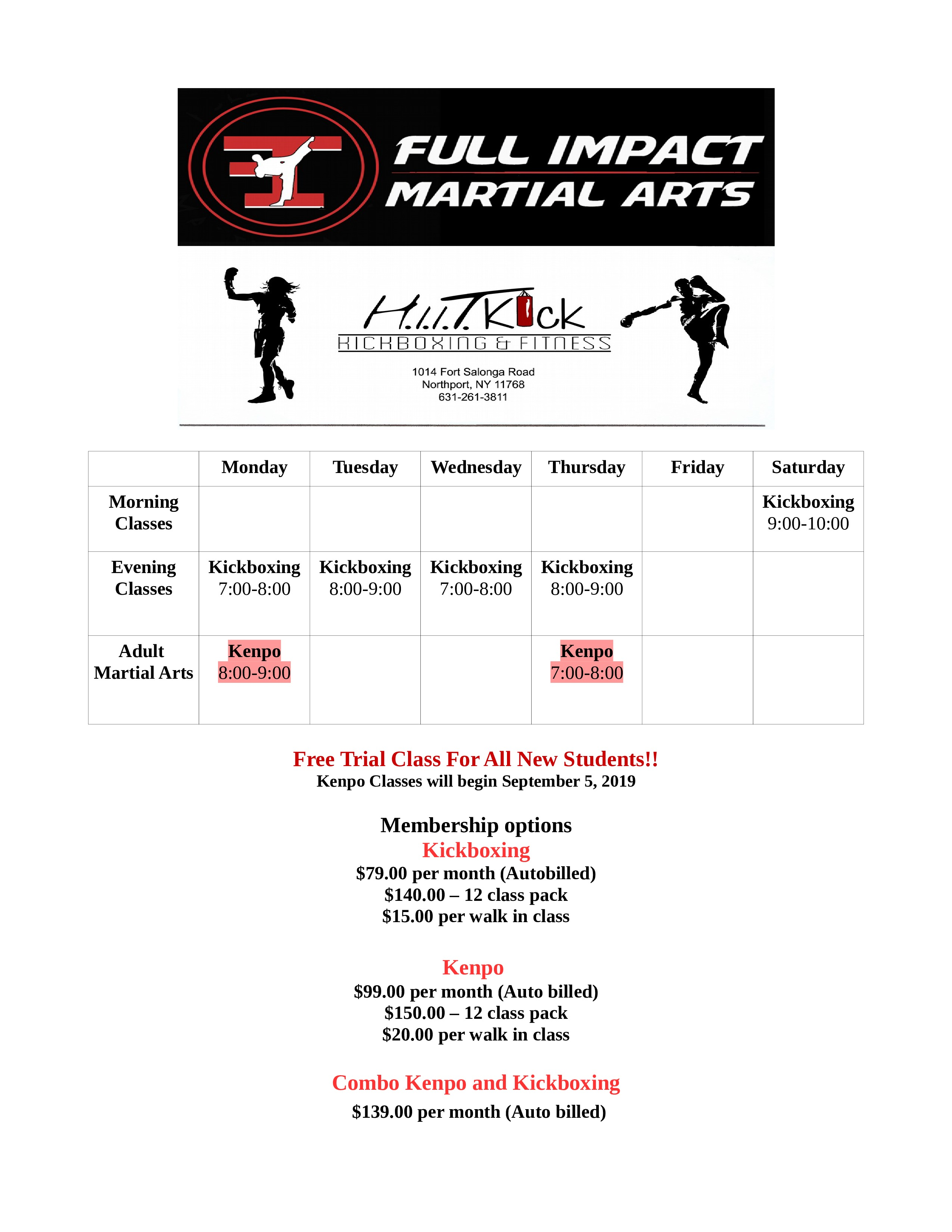Kickboxing And Fitness Class Schedule